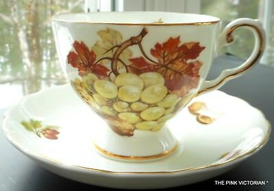 ROYAL CHELSEA fine Bone China TEA CUP, matching Saucer, Nuts & Berries theme