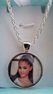 Ariana Grande Singer Photo 22 Inch Silver Necklace Dance Pop Music Gift Boxed