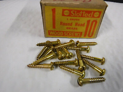 """#10 x 1"""" Brass Wood Screws Round Head Slotted Solid Brass Made in USA Qty.140"""