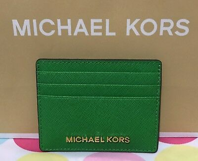 NEW Michael Kors  Jet Set Travel Saffiano Leather Card Case  Holder  Palm Green