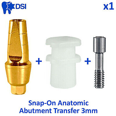 DSI Dental Implant Straight Snap On Cap Click Anatomic Abutment Transfer 3mm