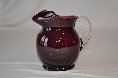 Amethyst Purple Glass Optic Swirl Pitcher With Clear Applied Handle.