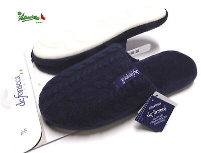 DEFONSECA ciabatte pantofole donna invernali tessuto gomma ROMA TOP W13 Blu