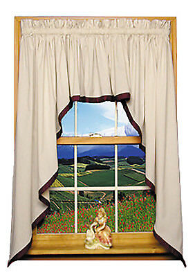 Roslyn 3 Piece Country Swags & Filler Valance Curtains Set with Banded Edge