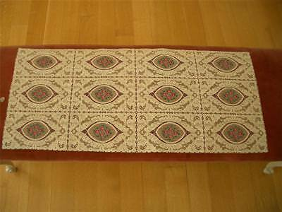 Antique Vtg PETIT POINT STYLE EMBROIDERY ALENCON LACE RUNNER DRESSER SCARF