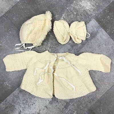 Vintage Cream Hand Crocheted Baby Outfit Sweater Hat Booties