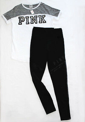 Victoria's secret love pink short sleeve tshirt legging set lot outfit S NEW NWT