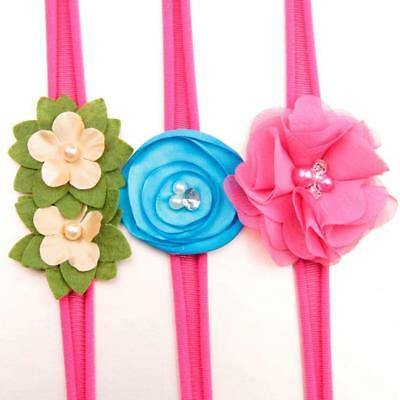Set X 3 Baby Girls Flower Hairband Soft Elastic Headband Gifts Hair Accessories