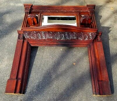 Early Art Nouveau 1880s Whip City Mahogany Fireplace w Overmantle Westfield Ma