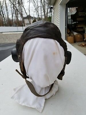 WW2 Type C Leather Flight Helmet No Receivers Dated 1942 MFG Sander Ltd Size 7