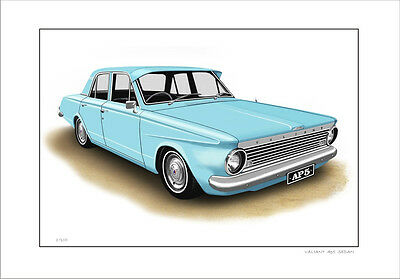 Valiant  Ap5  Sedan  Limited Edition Car Drawing  Print   ( 6  Car Colours )