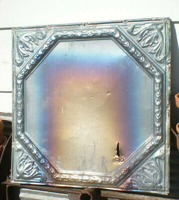 1890s Antique Iridescent Carnival Ceiling Tin Tile Fleur De Li Shabby Chic
