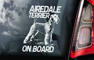 Airedale Terrier on Board - Car Window Sticker - Waterside Dog Sign Decal - V01