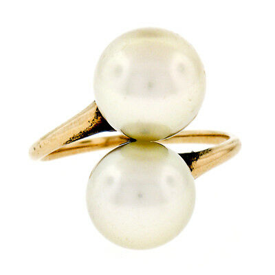 Antique 14k Yellow Gold Two Large White GIA Certified Pearl Bypass Cocktail Ring