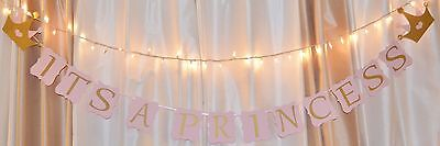 Its A Girl Baby Shower Princess Theme Crown Baby Pink/gold/white Hanging  Banner