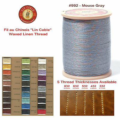 "Fil Au Chinois 50g ""Lin Cable"" WAXED LINEN thread #992 Mouse GRAY, 5 sizes avail"