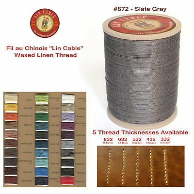 "Fil Au Chinois 50g ""Lin Cable"" WAXED LINEN thread #872 SLATE GRAY, 5 sizes avail"
