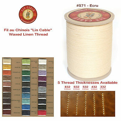 "Fil Au Chinois 50g ""Lin Cable"" WAXED LINEN thread #571 ECRU, 5 sizes avail"