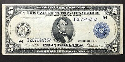 1914 $5 Federal Reserve Note Minneapolis Fr. 879a