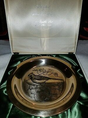 FRANKLIN MINT STERLING SILVER COLLECTOR Bird PLATE The Cardinal 1972 200 Grams
