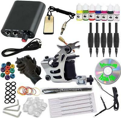 BEST COMPLETE TATTOO KIT Dragon Machine Gun Color Inks Set Power Supply Needles