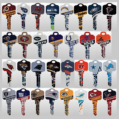 NFL Officially Licensed Football Team House Key Blank, Kwikset Schlage