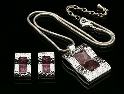curved rectangle dark purple enamel pendant silver plated necklace earrings S36