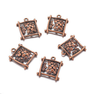50pcs Red Copper Alloy Filigree Flower Pendants Rectangle Tibetan Charms 20x18mm