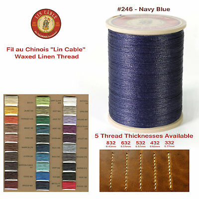 "Fil Au Chinois 50g ""Lin Cable"" WAXED LINEN thread #246 NAVY BLUE, 5 sizes avail"
