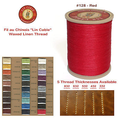 "Fil Au Chinois 50g ""Lin Cable"" WAXED LINEN thread #128 RED, 5 sizes avail"