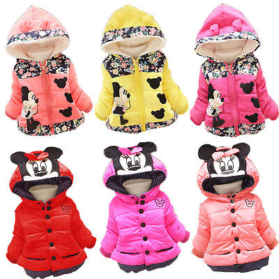 Toddler Mickey Minnie Mouse Kids Baby Girls Hoodies Coats Jackets Hooded