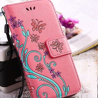Womens Flip Leather Silicone Flower Plant Print Ladies Wallet Case For Samsung B