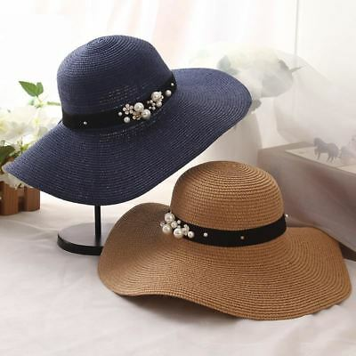 Summer Sun Hats for Women Solid Large Brimmed Sun Hats Black White Floppy Hats w