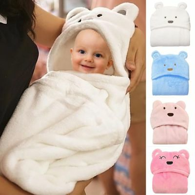 AU Infant Baby Soft Bath Towe Flannel Hooded Blanket Bath Towel Cartoon Bathrobe