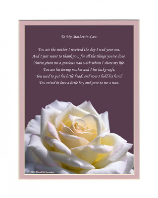 "Mother-in-Law Gift with ""Thank You for My Husband"" Poem. Rose Photo, 8x10 Double"