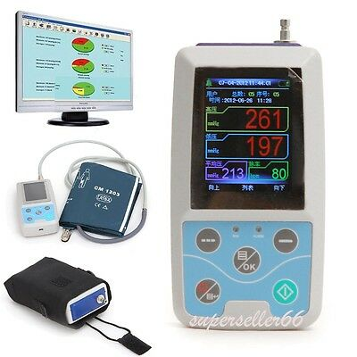Color LCD Ambulatory Blood Pressure Monitor Automatic Measure ABPM PC Software