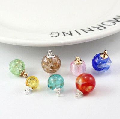 Blown Glass Hollow Twist Ball Gold Sand Beads Silver Foil Vial Charms Pendant 1P