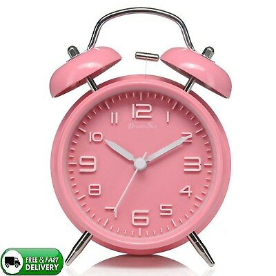 Twin Bell Alarm Clock With Backlight Non Ticking & Silent For Heavy Sleeper New