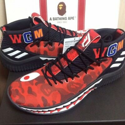 A BATHING APE x ADIDAS Originals Bape Dame 4 Damian Lilard Red 27.5cm US9. ce083e4a6