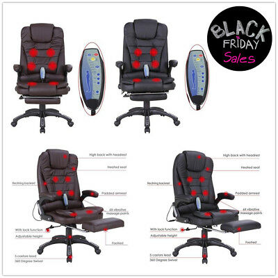 Massage Chair Heated Vibrating Executive Ergonomic Office Black Chair w/Footrest