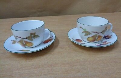 Royal Worcester China Evesham Tableware Cups and Saucers x2 Large Breakfast & ROYAL WORCESTER China Evesham Tableware Cups and Saucers x2 Large ...