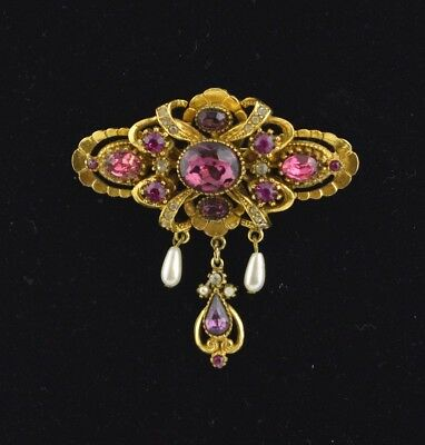 Vintage Victorian Revival Purple Pink Rhinestone & Pearl Pin Brooch by ART CO