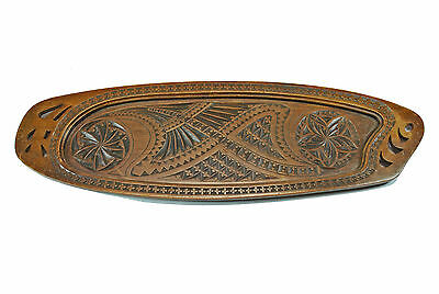 Antique Frisian Chip Carved Wood Serving Tray, Dutch.