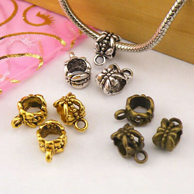10Pcs Tibetan Silver,Gold,Bronze Charm Pendant Bail Connector Fit Bracelet M1397