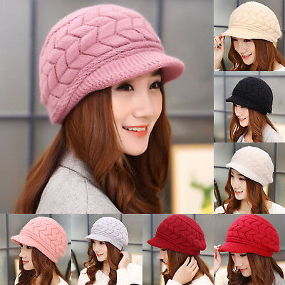 AU Women's Beret Winter Warm Baggy Beanie Knit Crochet Hat Slouch Ski Peaked Cap
