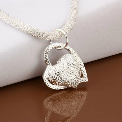 New 925 STERLING SILVER DOUBLE HEART PENDANT NECKLACE CHAIN WOMEN JEWELLERY UK
