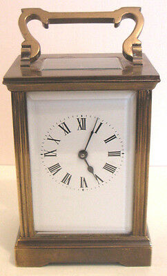 French Brass Oblong Case Timepiece White Enamel Dial Carriage Clock , c1900 GWO