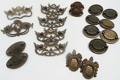 Antique Brass metal tin Decorative Bureau Dresser Drawer Pulls Handles