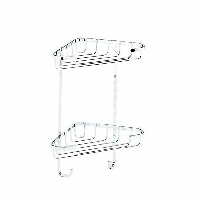 Croydex Chrome Plated 5 Year Rust Free Bathroom Shower 2 Tier Basket Storage