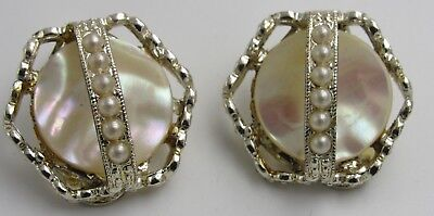 Vintage Mother of Pearl Faux Pearl Clip Earrings